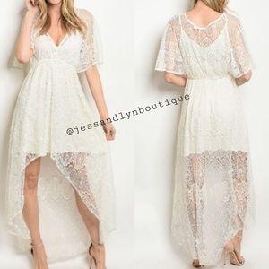 Dresses & Skirts - 🆕 LYSSA-Off White Lace Overlay Hi-Low Dress